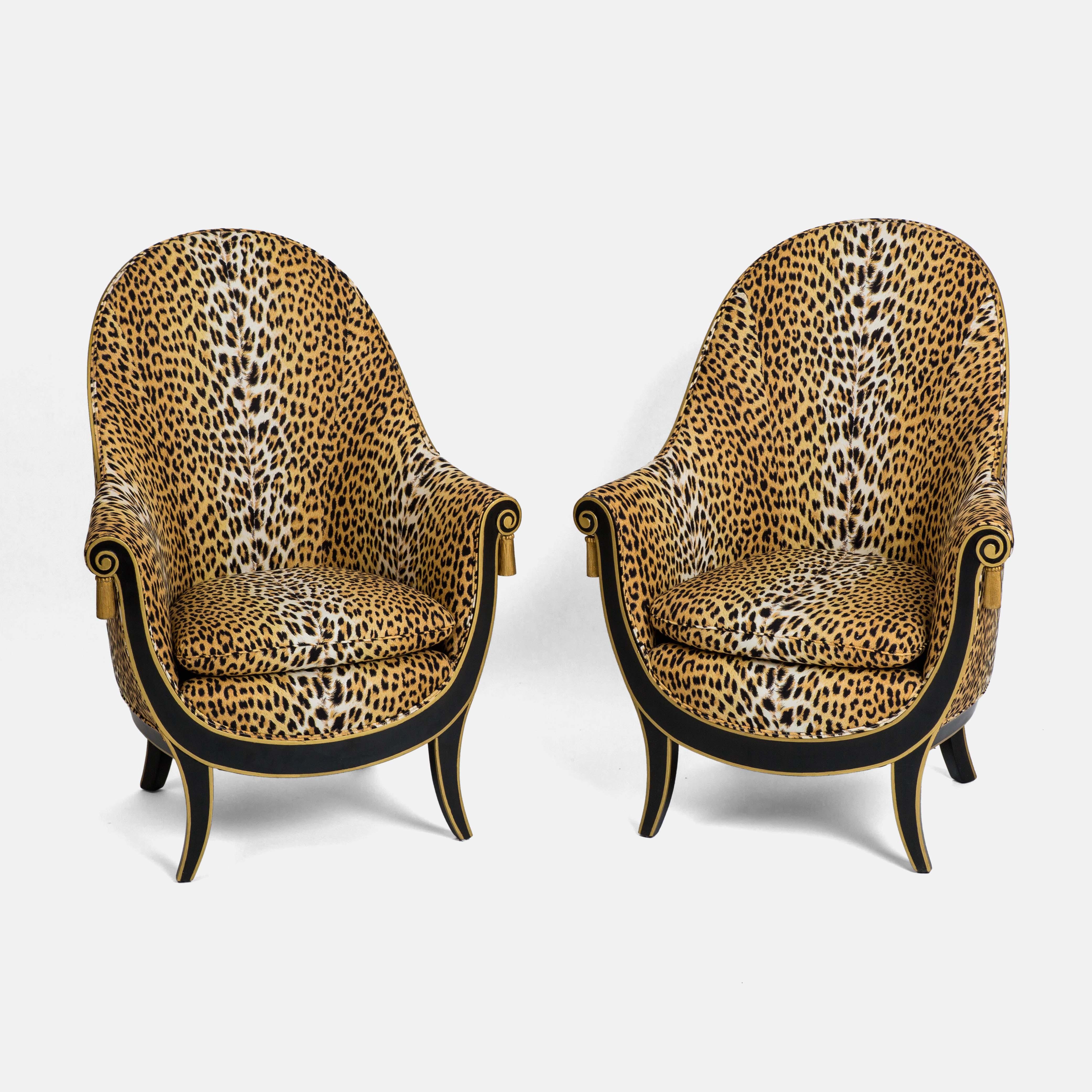 Pair of Rare Ebonized & Gilt Bergères by André Groult | soyun k.