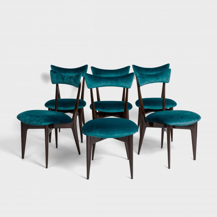 Set of 6 Rare Rosewood Dining Chairs by Ico & Luisa Parisi for Ariberto Colombo | soyun k.