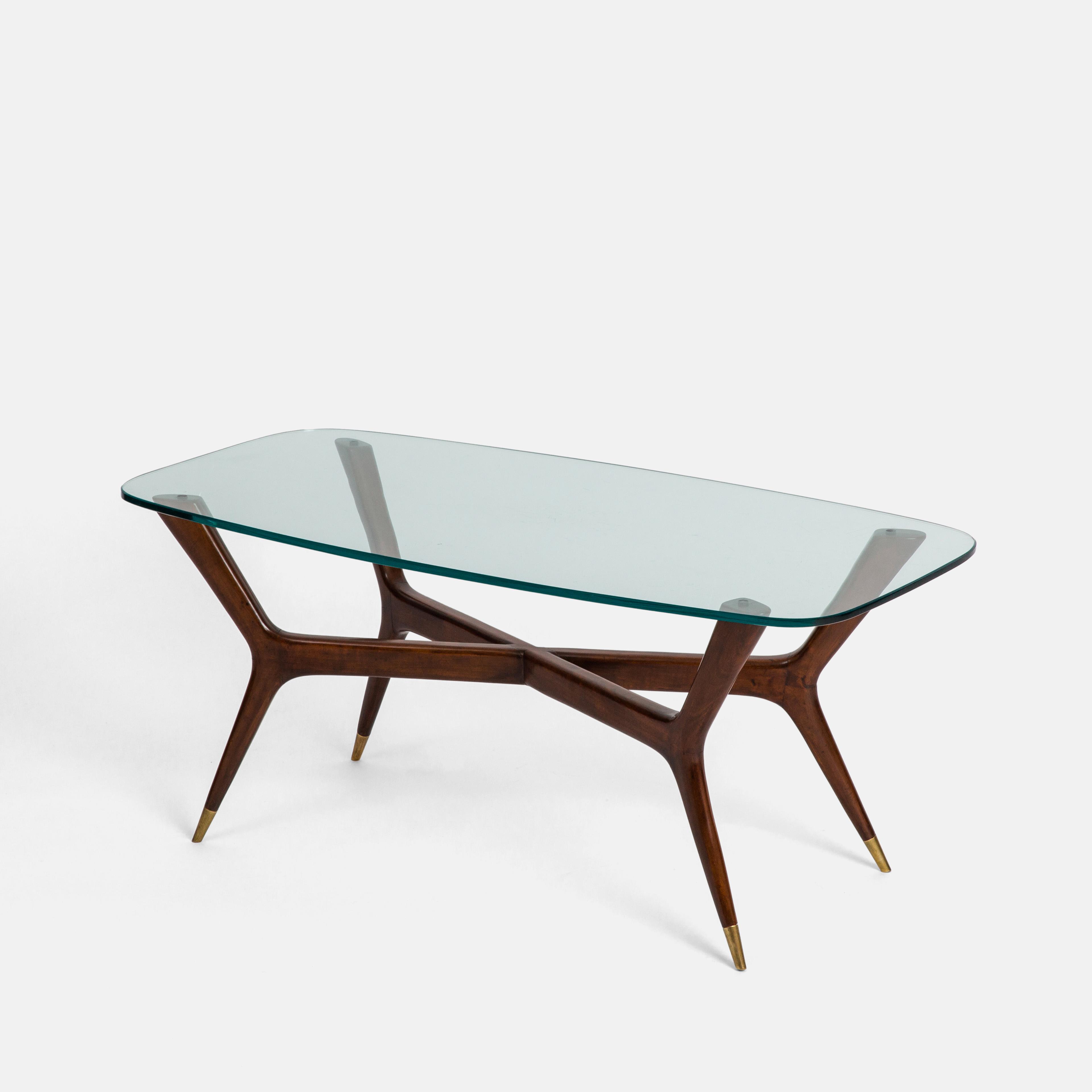 Italian Walnut & Glass Coffee Table by Gio Ponti | soyun k.