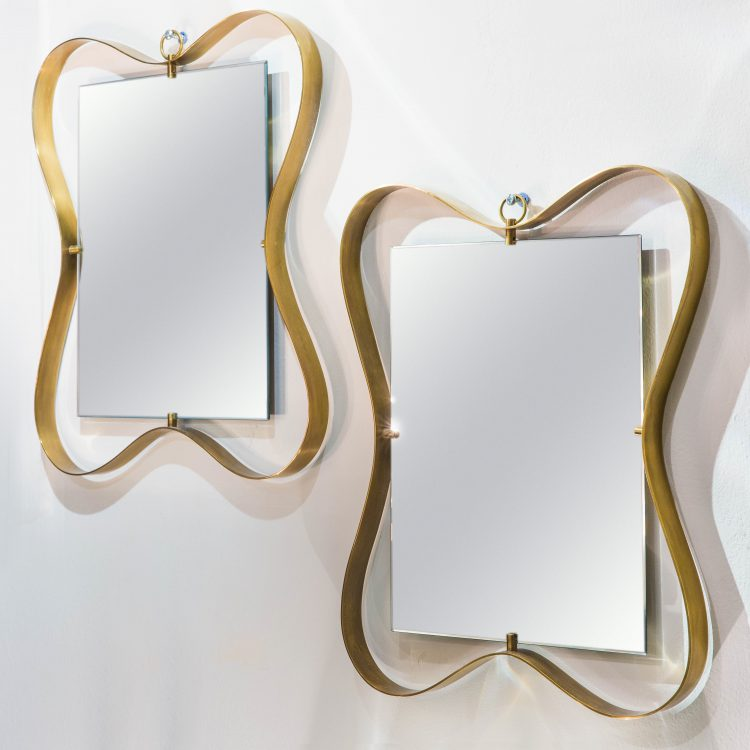 Pair of Small Brass Framed Mirrors by Fontana Arte | soyun k.