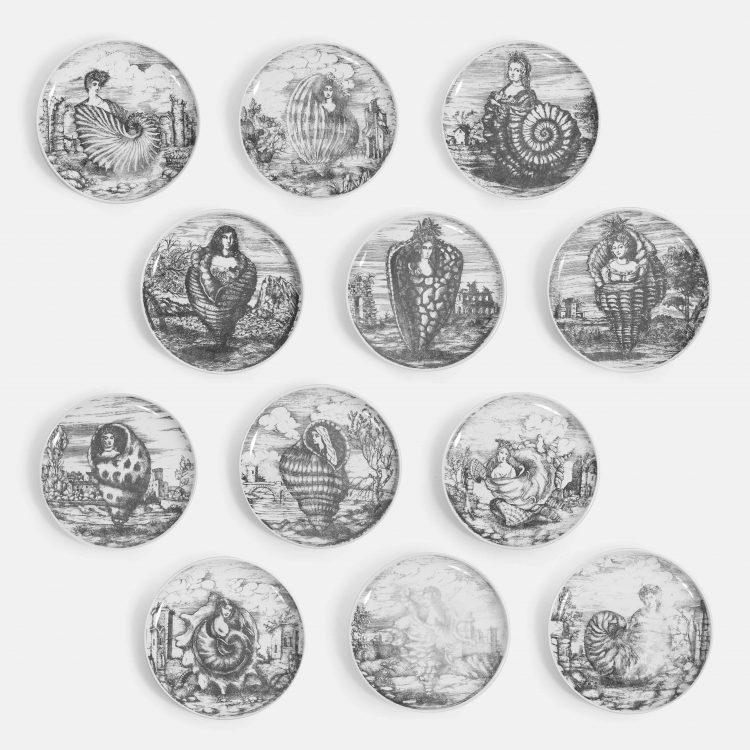 Rare Complete Set of 12 'Le Oceanidi' Ceramic Plates by Piero Fornasetti | soyun k.