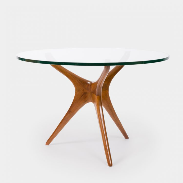Tri-symmetric Walnut and Glass Center/Dining Table by Vladimir Kagan | soyun k.