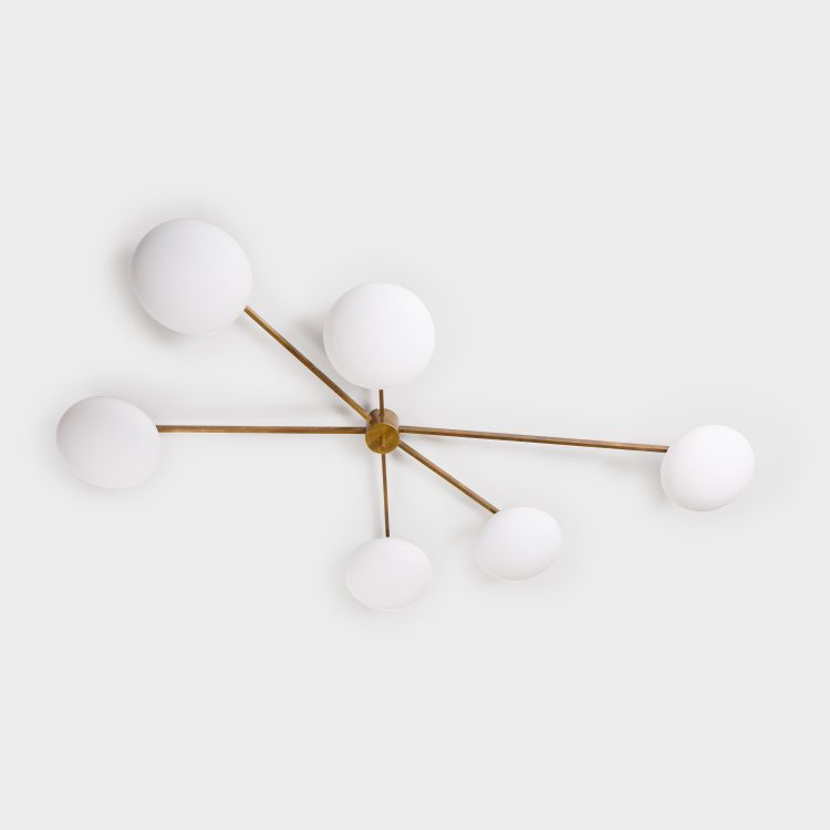 Stella 6 Lune Ceiling Light or Chandelier by Angelo Lelii for Arredoluce | soyun k.
