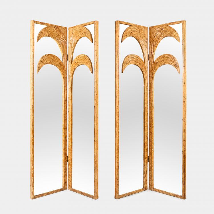 Pair of Bamboo Mirrored Panels or Four-Panel Screen by Vivai del Sud | soyun k.