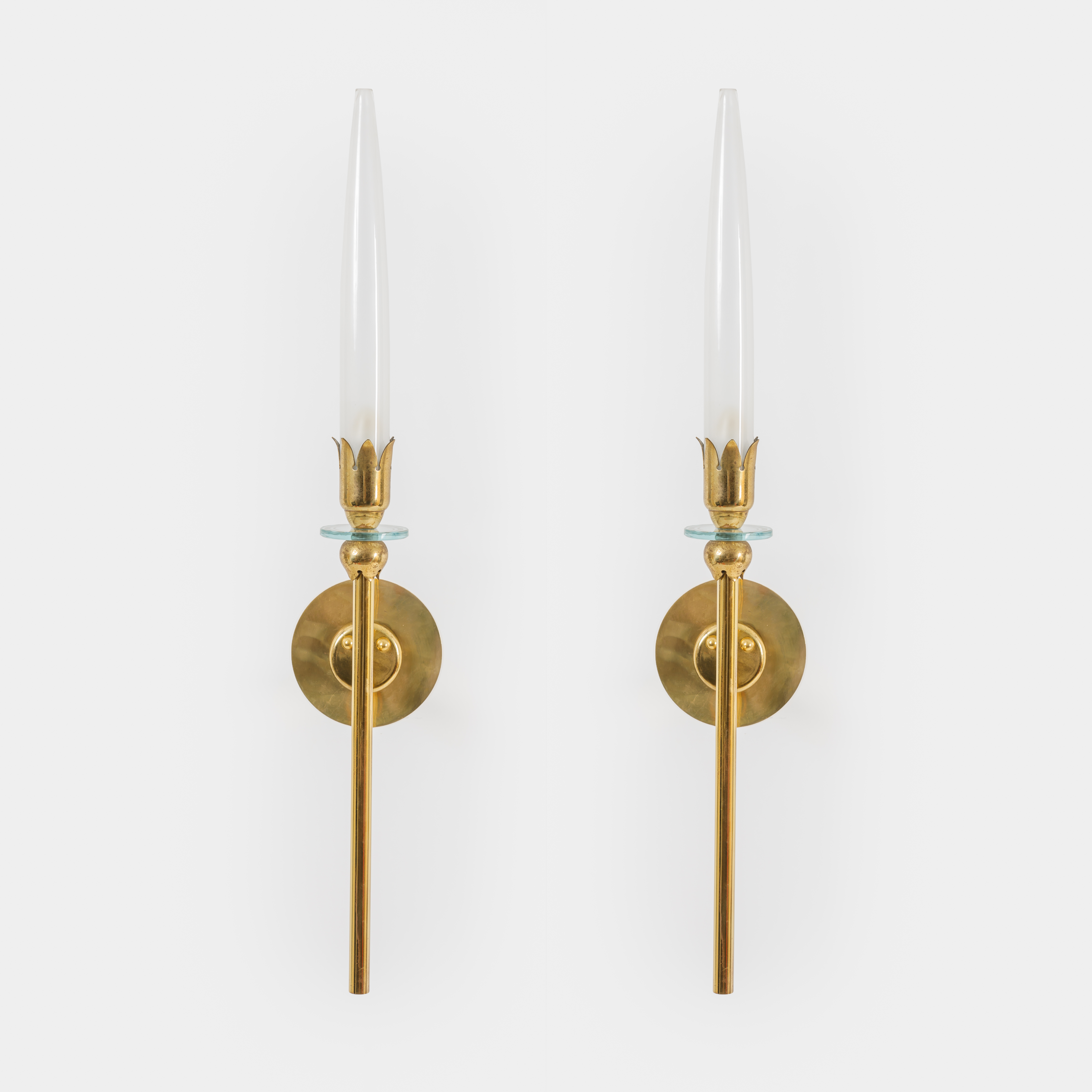 Pair of Brass and Opaline Glass Sconces by Angelo Lelii for Arredoluce | soyun k.