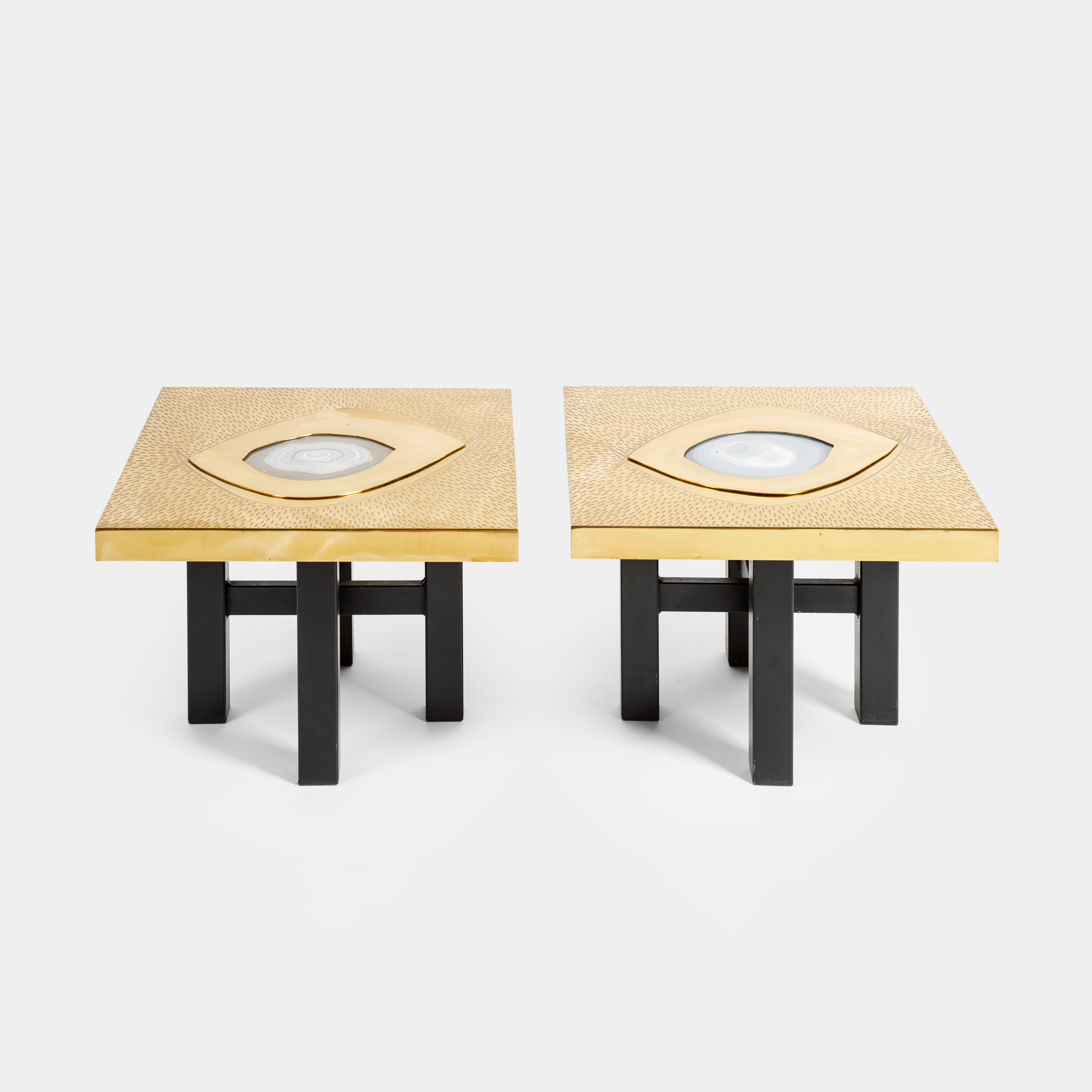 Pair of Etched Brass and Inset Agate End Tables by Willy Daro  | soyun k.