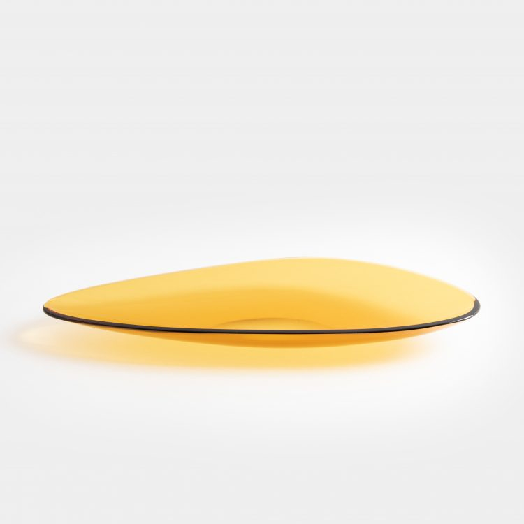 Large Amber Glass Dish, Model 1528 by Fontana Arte | soyun k.