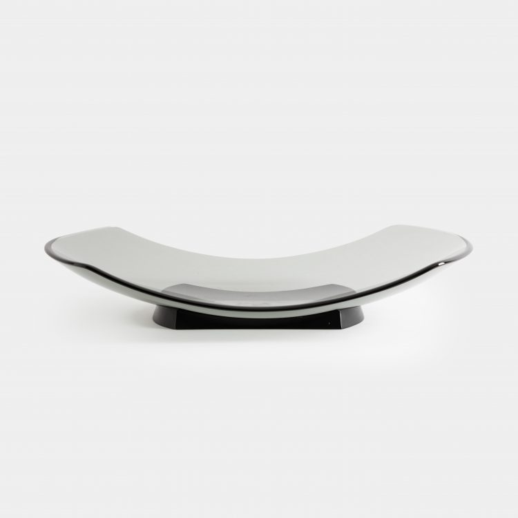 Large Gray Glass Dish, Model 1419 by Fontana Arte | soyun k.