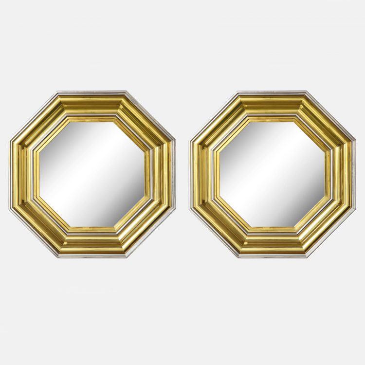 Pair of Large Brass and Chrome Octagonal Mirrors by Sandro Petti for Maison Jansen | soyun k.