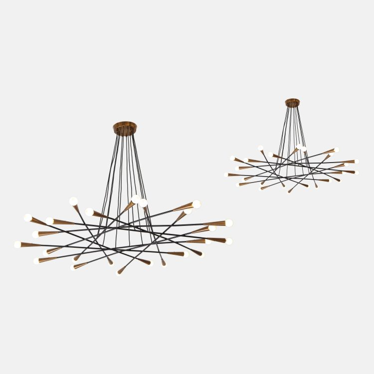 Pair of Rare Large Chandeliers by Stilnovo   soyun k.