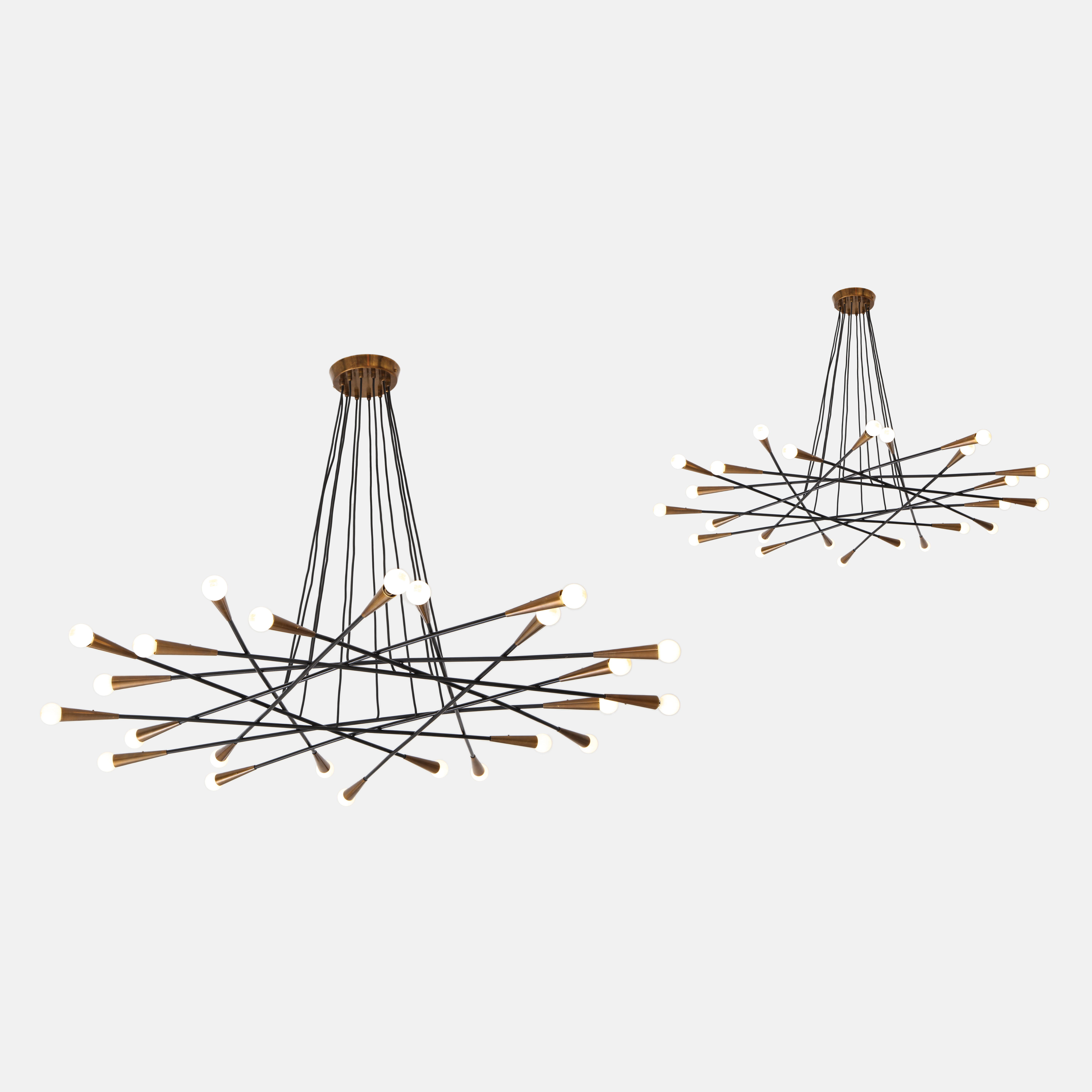 Pair of Rare Large Chandeliers by Stilnovo | soyun k.