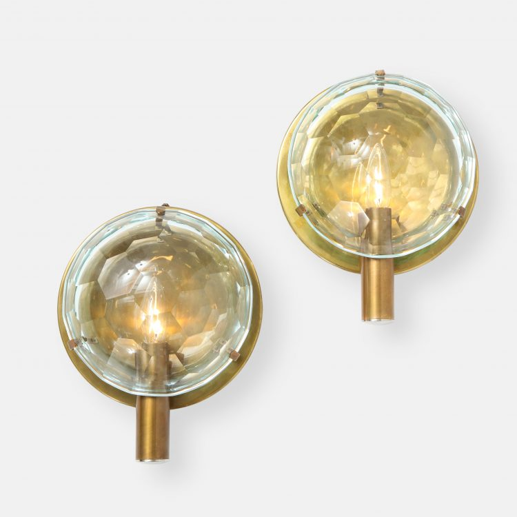 Pair of Faceted Crystal and Brass Sconces by  | soyun k.