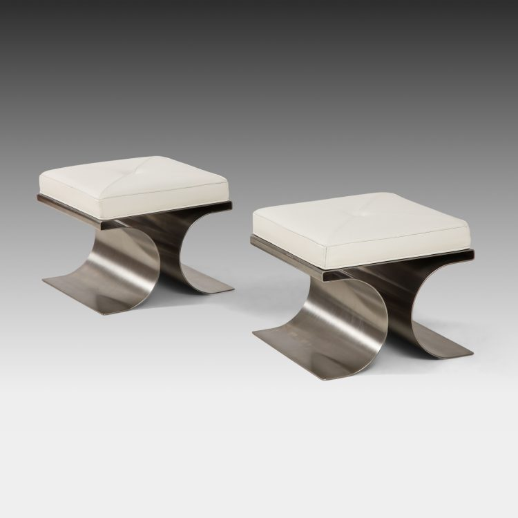 Pair of 'X' Stainless Steel and White Leather Stools by Michel Boyer | soyun k.