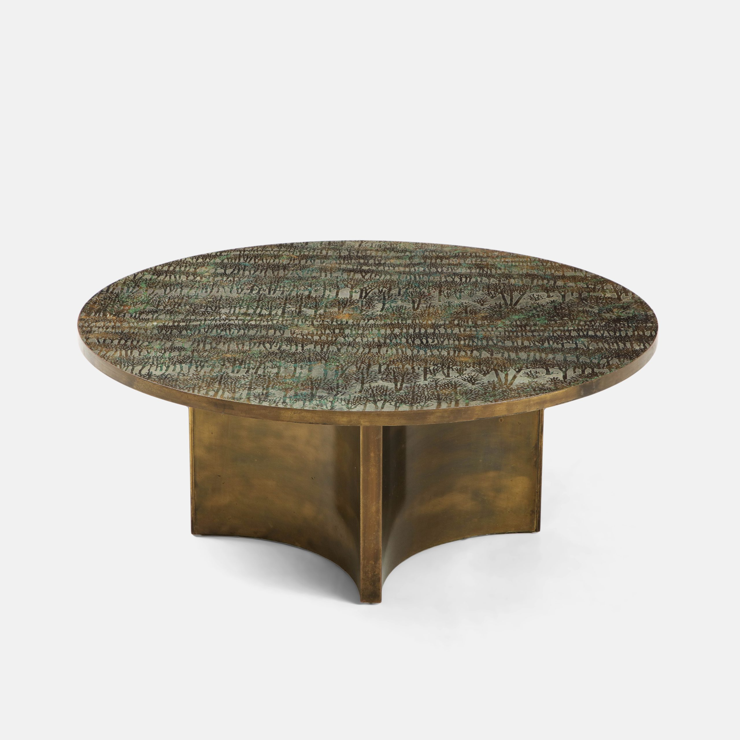 "Rare ""Eternal Forest"" Coffee Table by Philip & Kelvin LaVerne 
