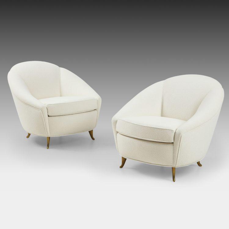 Pair of Bouclé Armchairs by Gio Ponti for ISA Bergamo | soyun k.
